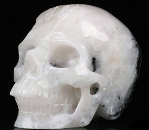 "Tourmalinated Quartz Realistic Carved Gemstone Crystal Skull 5"" Inch SK103"